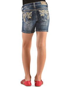 Grace in L.A. Girls' Floral Embroidered Denim Shorts, , hi-res