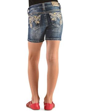 Grace in L.A. Girls' Floral Embroidered Denim Shorts, Denim, hi-res