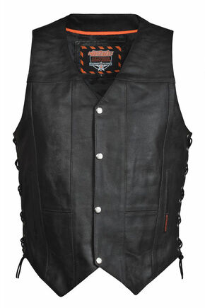 Interstate Leather Men's Justice Vest, Black, hi-res