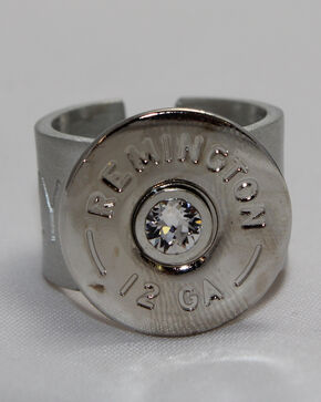 SouthLife Supply Women's Rosa Shotshell Ring in Traditional Silver with Crystal, Silver, hi-res