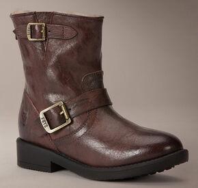 Frye Girls' Valerie 6 Shearling Boots - Round Toe , Dark Brown, hi-res