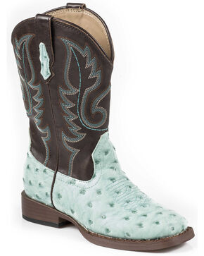 Roper Boys' Ostrich Print Cowboy Boots - Square Toe, Turquoise, hi-res