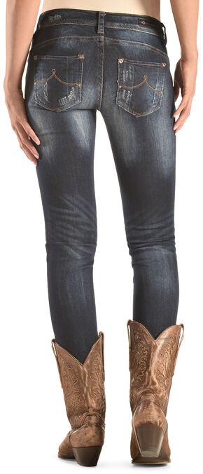 Grace in LA Women's Dark Wash Skinny Distressed Jeans , Denim, hi-res