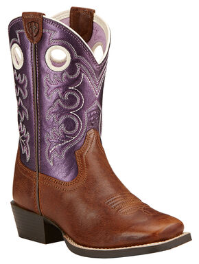 Ariat Youth Crossfire Cowgirl Boots - Square Toe , Wood, hi-res