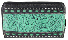 Montana West Trinity Ranch Black Tooled Design Wallet, , hi-res