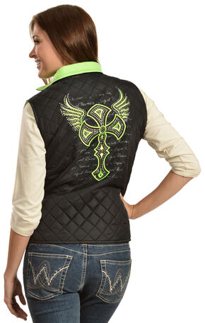 Cowgirl Hardware Winged Cross Quilted Vest, Black, hi-res