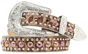 Blazin Roxx Leopard Rhinestone Studded Belt, Brown, hi-res