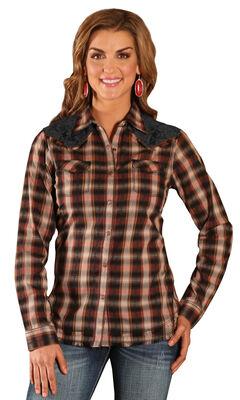 Wrangler Women's Lace Yoke Plaid Shirt, , hi-res