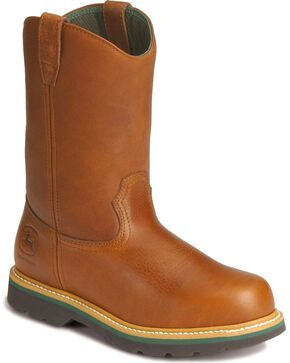 John Deere Wellington Work Boots - Steel Toe, Walnut, hi-res