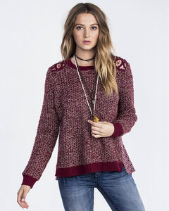 Miss Me Women's Burgundy A Little Twist Pullover Top , Burgundy, hi-res