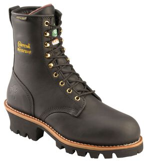 "Chippewa Waterproof & Insulated Oiled 8"" Logger Boots - Steel Toe, Black, hi-res"