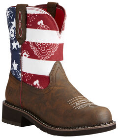 Ariat Fatbaby Patriot Brown Heritage Cowgirl Boots - Round Toe, , hi-res