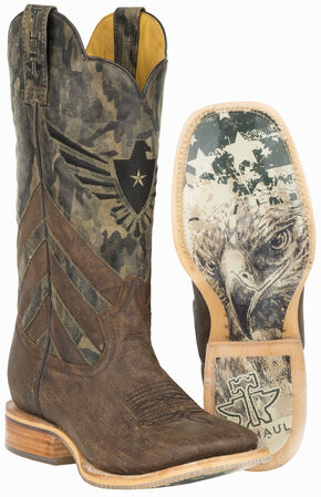 Tin Haul Sergeant at Arms Screaming Eagle Cowboyl Boots - Square Toe , Brown, hi-res