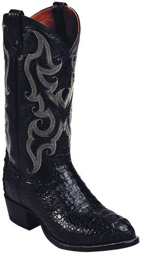 Tony Lama Black Royal Hornback Caiman Exotic Cowboy Boots - Round Toe , Black, hi-res
