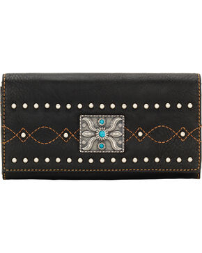 Bandana by American West Black Canyon Flap Wallet, Black, hi-res