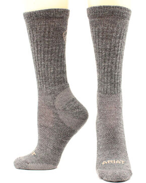 Ariat Men's Merino Light Hiker Socks, Grey, hi-res