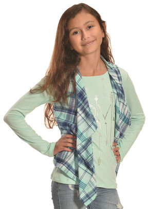 Derek Heart Girl's Plaid Vest and Long Sleeve Tee Combo, Lt Green, hi-res