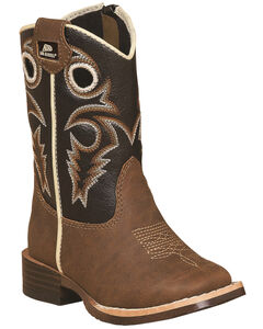 Double Barrel Boys' Brown Trace Zipper Cowboy Boots - Square Toe , , hi-res