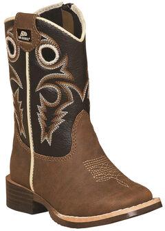 Double Barrel Toddler Boys' Brown Trace Zipper Cowboy Boots - Square Toe , , hi-res