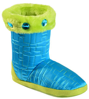 Blazin Roxx Women's Quilted Cross Slipper Booties, Turquoise, hi-res