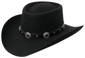 Master Hatters Men's Austin Cool Hondo 3X Wool Felt Gambler Hat, Black, hi-res
