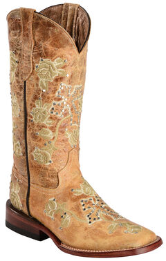 Ferrini Distressed Floral & Cross Embroidered Cowgirl Boots - Wide Square Toe, , hi-res