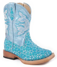 Roper Toddler Girls' Blue Glittery Flower Cowgirl Boots, , hi-res