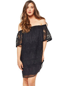 Glam Women's Crochet Embroidered Dress , , hi-res