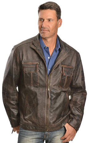 Scully Vintage Lamb Zip Front Jacket - Big & Tall, Brown, hi-res