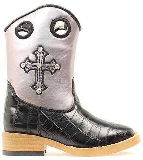 Blazin Roxx Youth Sonora Croc Print Cowgirl Boots - Square Toe, Black, hi-res
