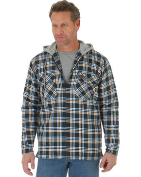 Wrangler Men's Plaid Hooded Quilted Flannel Jacket, Black, hi-res