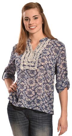 Tantrums Women's Blue Floral Crochet Peasant Top , , hi-res