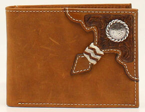 Ariat Rawhide Knot Concho Bi-fold Wallet, Aged Bark, hi-res