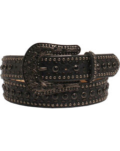 Nocona Women's Rhinestone Floral Black Tooled Leather Belt, , hi-res
