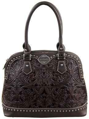 Montana West Trinity Ranch Coffee Tooled Design Handbag, Brown, hi-res