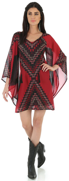 Wrangler Women's Wide Peasant Sleeve Tassel Tie Dress, Multi, hi-res