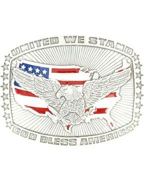 Nocona United We Stand Buckle, Silver, hi-res