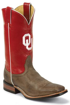 Nocona Men's University of Oklahoma College Cowboy Boots - Square Toe, Tan, hi-res