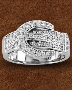 Kelly Herd Sterling Silver Pave' Buckle Ring , , hi-res