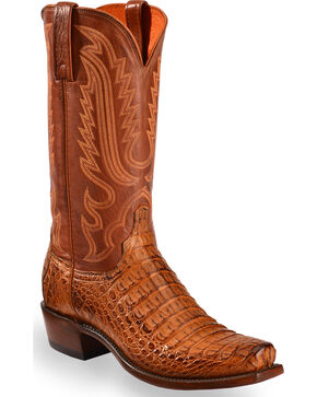 Lucchese Men's Walter Hornback Caiman Belly Boots - Snip Toe , Tan, hi-res