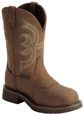 Justin Gypsy Waterproof Work Boots - Round Steel Toe, Aged Bark, hi-res