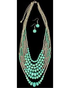 Blazin Roxx Beaded Turquoise Necklace & Earrings Set, , hi-res
