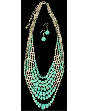 Blazin Roxx Beaded Turquoise Necklace & Earrings Set, Silver, hi-res