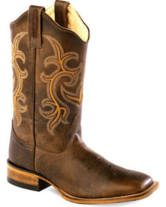 Old West Women's Rustic Brown Western Boots - Square Toe , , hi-res