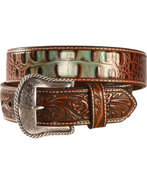 Nocona Men's Turquoise and Croc Leather Belt, Tan, hi-res