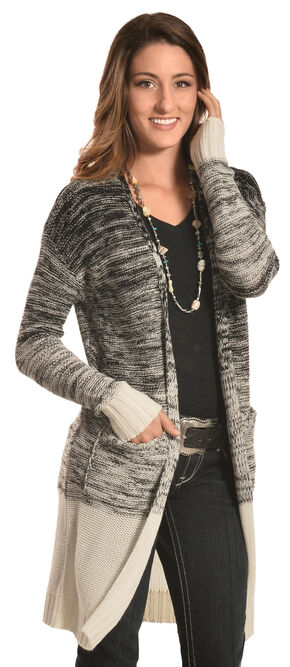 Derek Heart Women's Black Marled Long Cardigan , Black, hi-res