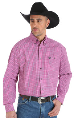 Wrangler George Strait Men's Plaid Button Down Shirt - Big & Tall, , hi-res
