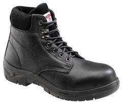 Avenger Men's Black Pebbled Leather Anti-Slip Work Boots - Steel Toe, , hi-res