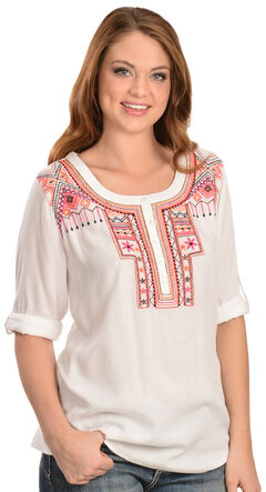 Red Ranch Women's Roll Sleeve Aztec Embroidered Henley Top, , hi-res