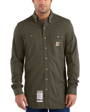 Carhartt Men's Moss Flame-Resistant Force Cotton Hybrid Shirt , Moss, hi-res